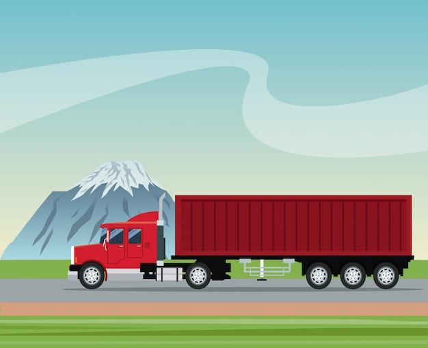 Caminhão reboque entrega de contentores transporte estrada montanha fundo