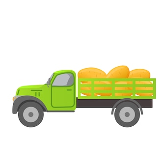 Caminhão retrô colhendo batatas.
