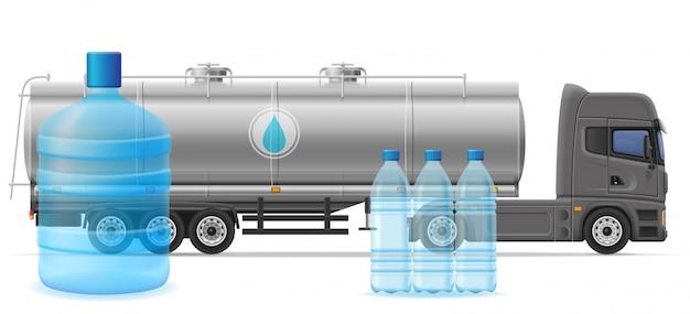 Caminhão semi reboque entrega e transporte de água potável purificada conceito ilustração em vetor