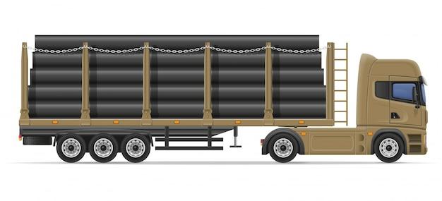 Caminhão semi reboque entrega e transporte de materiais de construção conceito ilustração vetorial