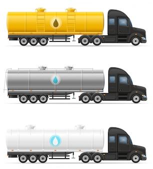 Caminhão semi reboque entrega e transporte de tanque para ilustração vetorial líquido