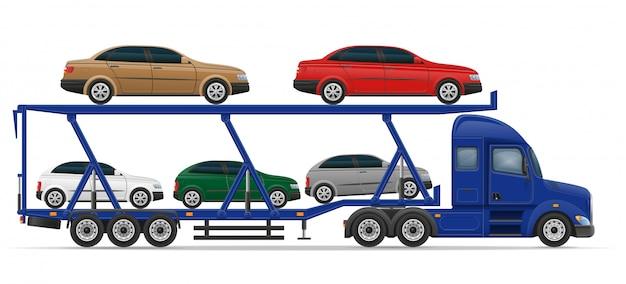 Caminhão semi-reboque para transporte de carro conceito ilustração vetorial