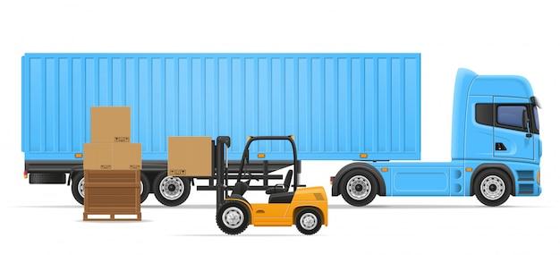 Caminhão semi reboque para transporte de mercadorias conceito ilustração vetorial