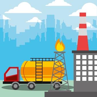 Caminhão-tanque indústria petrolífera e torre de refinaria de queima