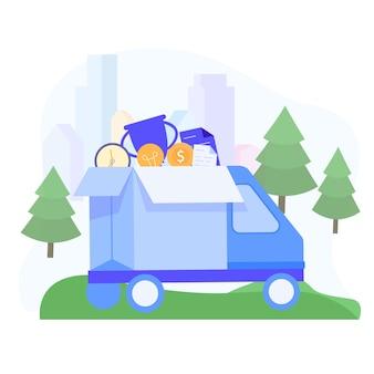 Caminhão transporta prêmios por uma idéia de sucesso