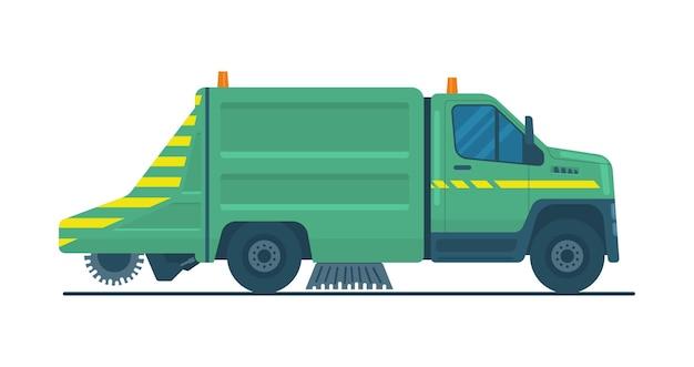 Caminhão varredora a vácuo com escovas. ilustração vetorial.