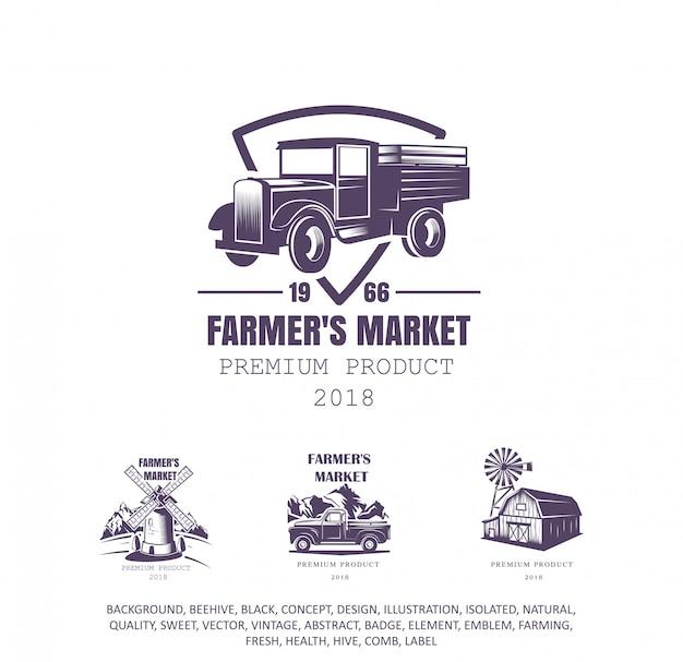 Caminhão velho, logotipo do fazendeiro, ícone da agricultura