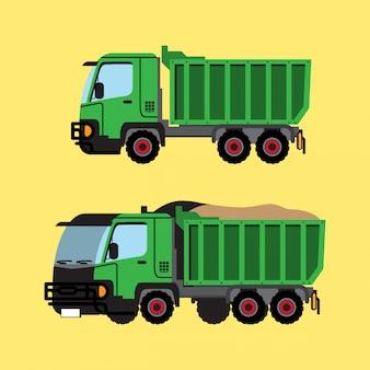 Caminhão verde plano e isométrico