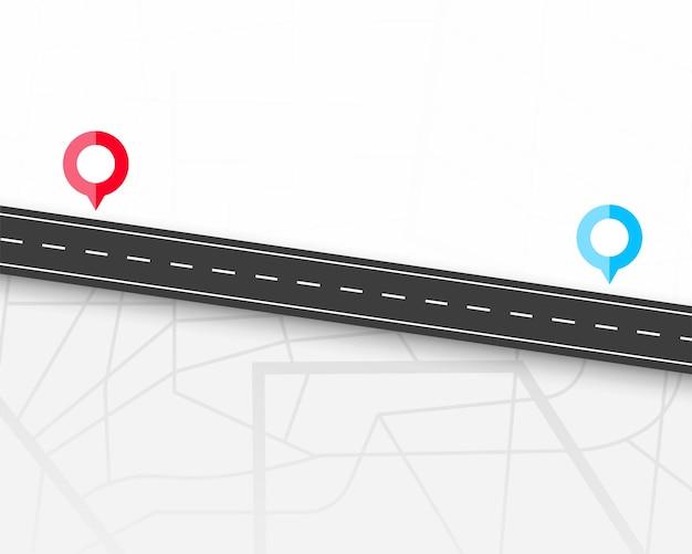 Caminho com dois ícones de localização