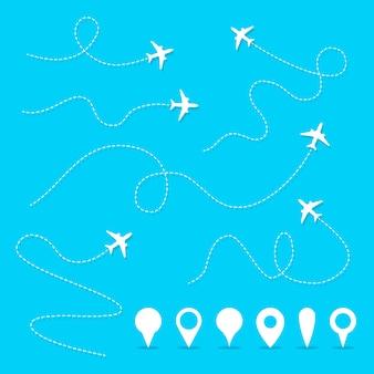 Caminho da linha plana do vetor. percurso direcional do avião, direção de voo e símbolos de vetor de pinos
