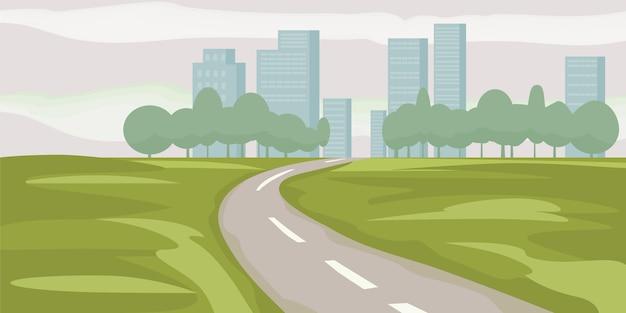Caminho de estrada para edifícios da cidade na ilustração vetorial de horizonte