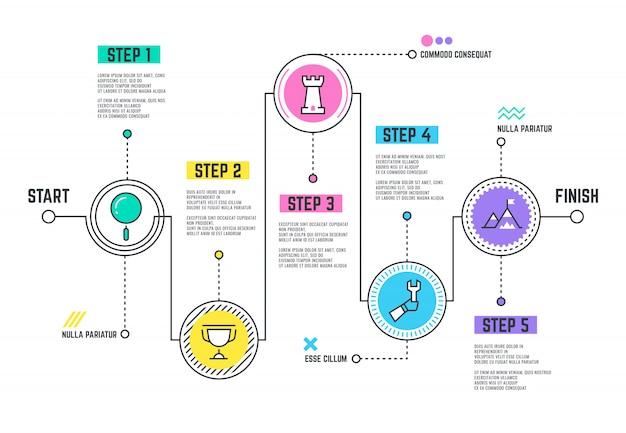 Caminho de jornada da empresa. roteiro de modelo de infográfico com cronograma de linha de passos