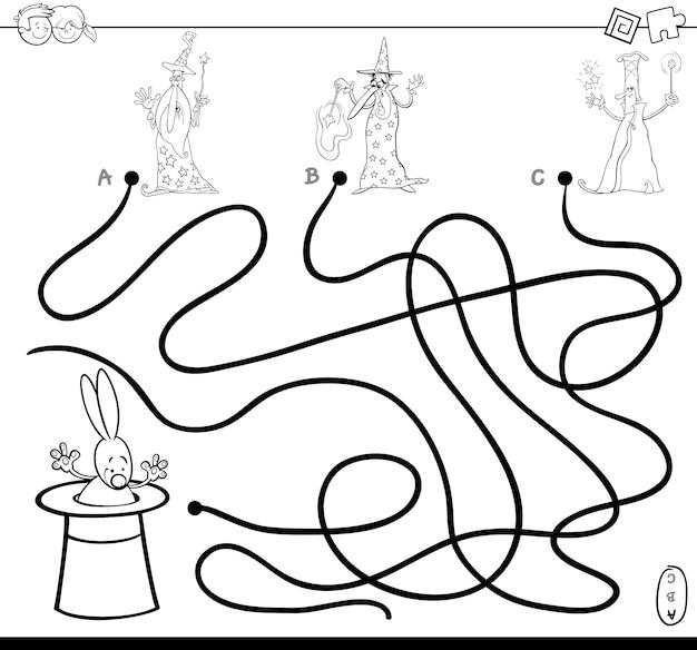 Caminho de labirinto com magos para colorir livro