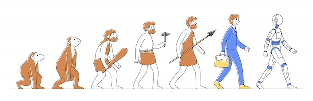Caminho do macaco para ilustração cyborg ou robô