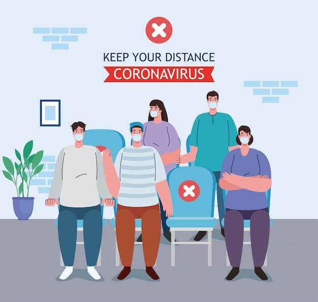 Caminho errado, distância social na sala de espera, pessoas usando máscara médica, prevenção de coronavírus covid-19