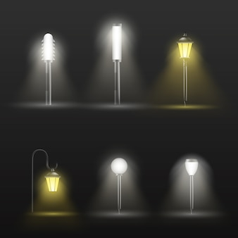 Caminho, lâmpadas ao ar livre de passarela em design moderno e clássico