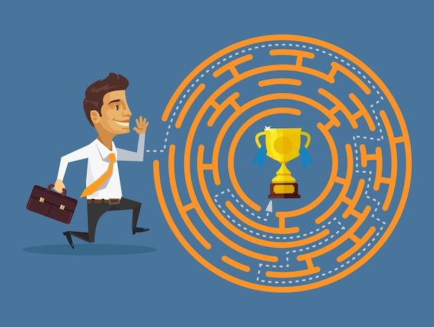 Caminho para o sucesso ilustração cartoon plana
