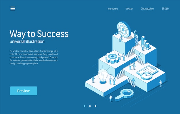 Caminho para o sucesso. processo de trabalho em equipe de pessoas de negócios. ilustração de linha isométrica moderna. pesquisa de idéia, plano de estratégia, marketing, ícone de metas de destino. fundo 3d conceito de infográfico de passo de crescimento.