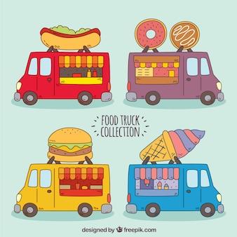 Caminhões com comida divertida com estilo desenhado a mão