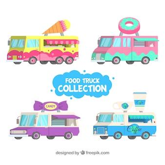 Caminhões de alimentos coloridos com design plano