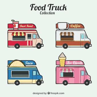 Caminhões de alimentos coloridos com estilo desenhado a mão