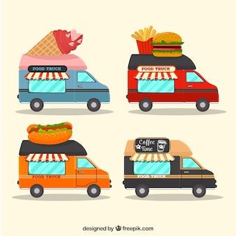 Caminhões de alimentos modernos com comida tradicional