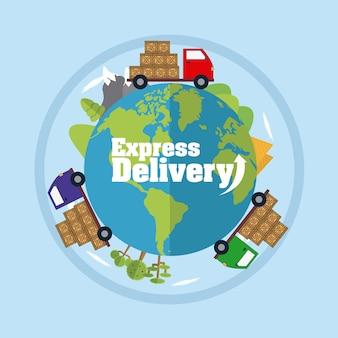Caminhões de carga ao redor do mundo vector design gráfico ilustração