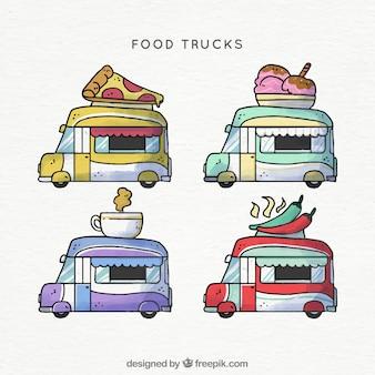 Caminhões de comida desenhados a mão com estilo bonito