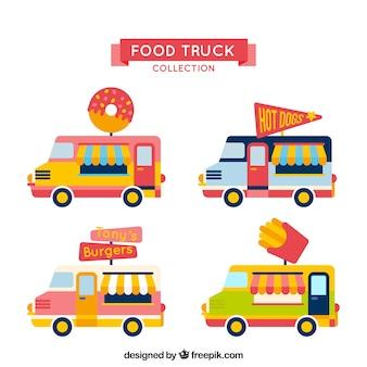 Caminhões de comida divertida com design plano