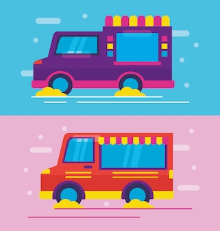 Caminhões de comida em estilo simples