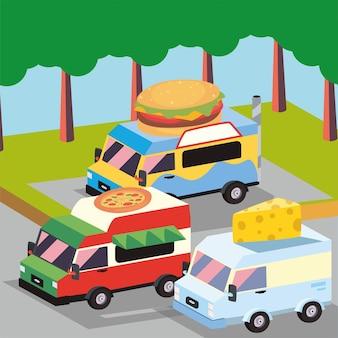 Caminhões de comida isométricos ao ar livre