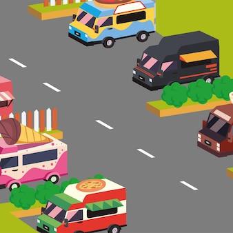 Caminhões de comida isométricos na rua