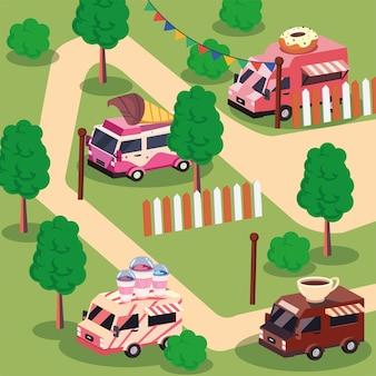 Caminhões de comida isométricos no festival