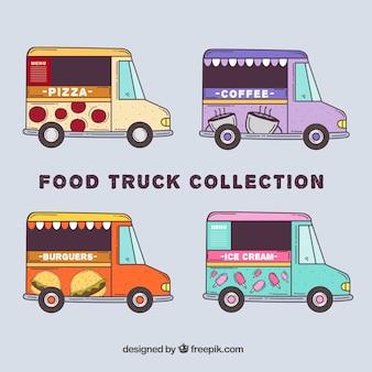 Caminhões de comida modernos com estilo desenhado a mão