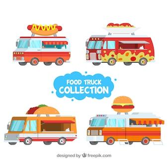 Caminhões de comida plana com fast food