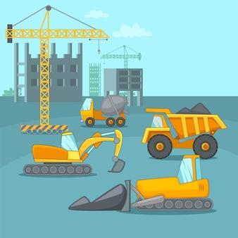 Caminhões de conceito de processo de construção, estilo cartoon