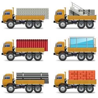 Caminhões de construção isolados em fundo branco