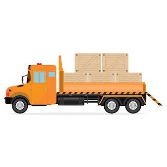 Caminhões de entrega com caixas de madeira.