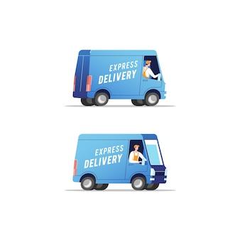 Caminhões de entrega com homens carregando pacotes. ilustração.