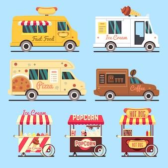 Caminhões de entrega do fast food da rua ajustados planos. caminhão rápido de comida de rua