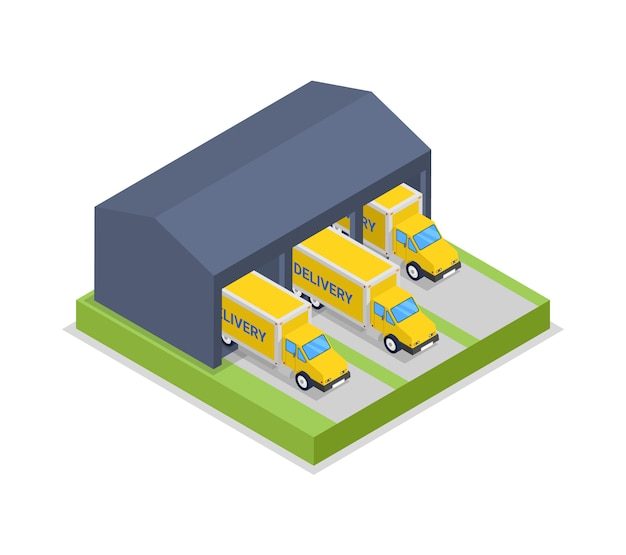 Caminhões de entrega na ilustração isométrica de cabide de armazém