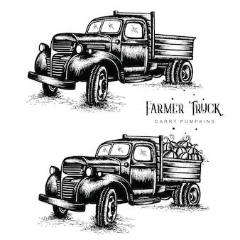 Caminhões de fazenda velha carregam abóboras