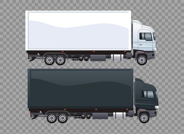 Caminhões de vans preto e branco