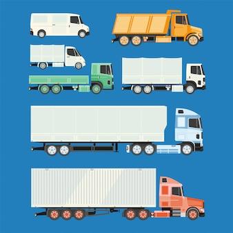Caminhões e reboques em um fundo branco.