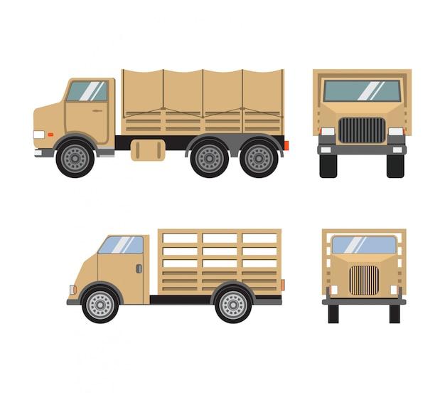 Caminhões pesados militares. transporte do exército.