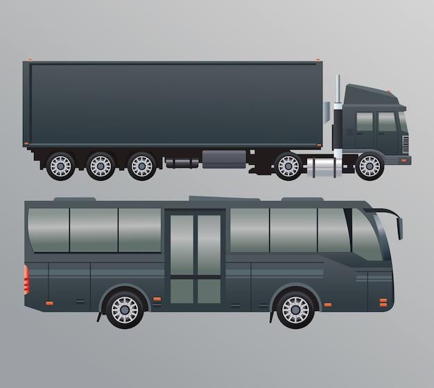 Caminhões pretos e veículos de transporte público de ônibus