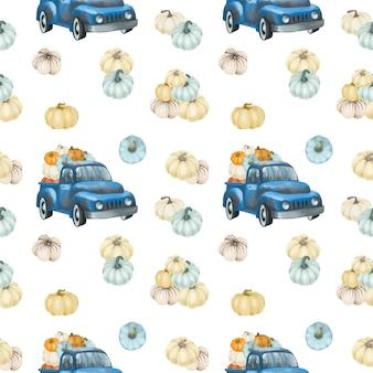 Caminhões retro da colheita azul com padrão sem emenda de abóboras