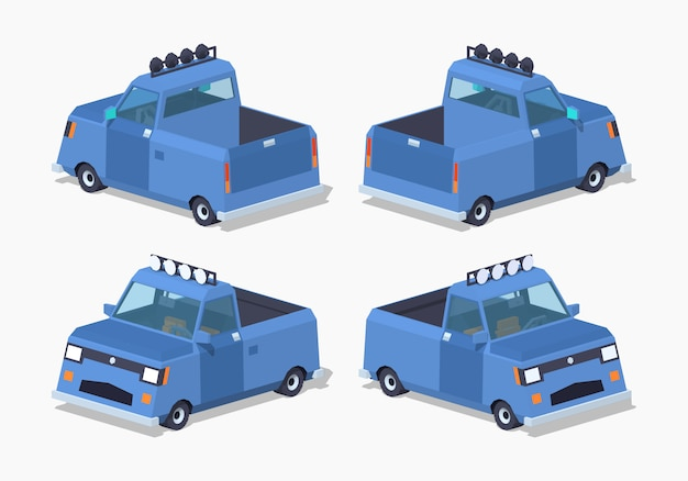 Caminhonete azul 3d lowpoly isométrica