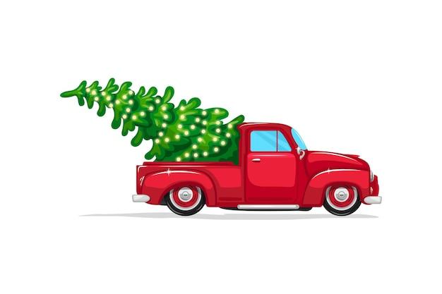 Caminhonete vermelha de natal com uma árvore na parte de trás