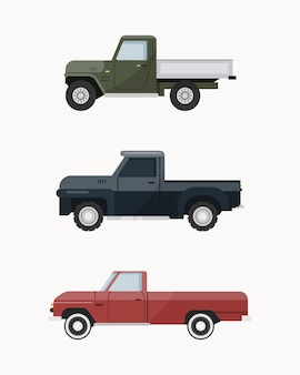 Caminhonete vintage. conjunto de caminhonete.